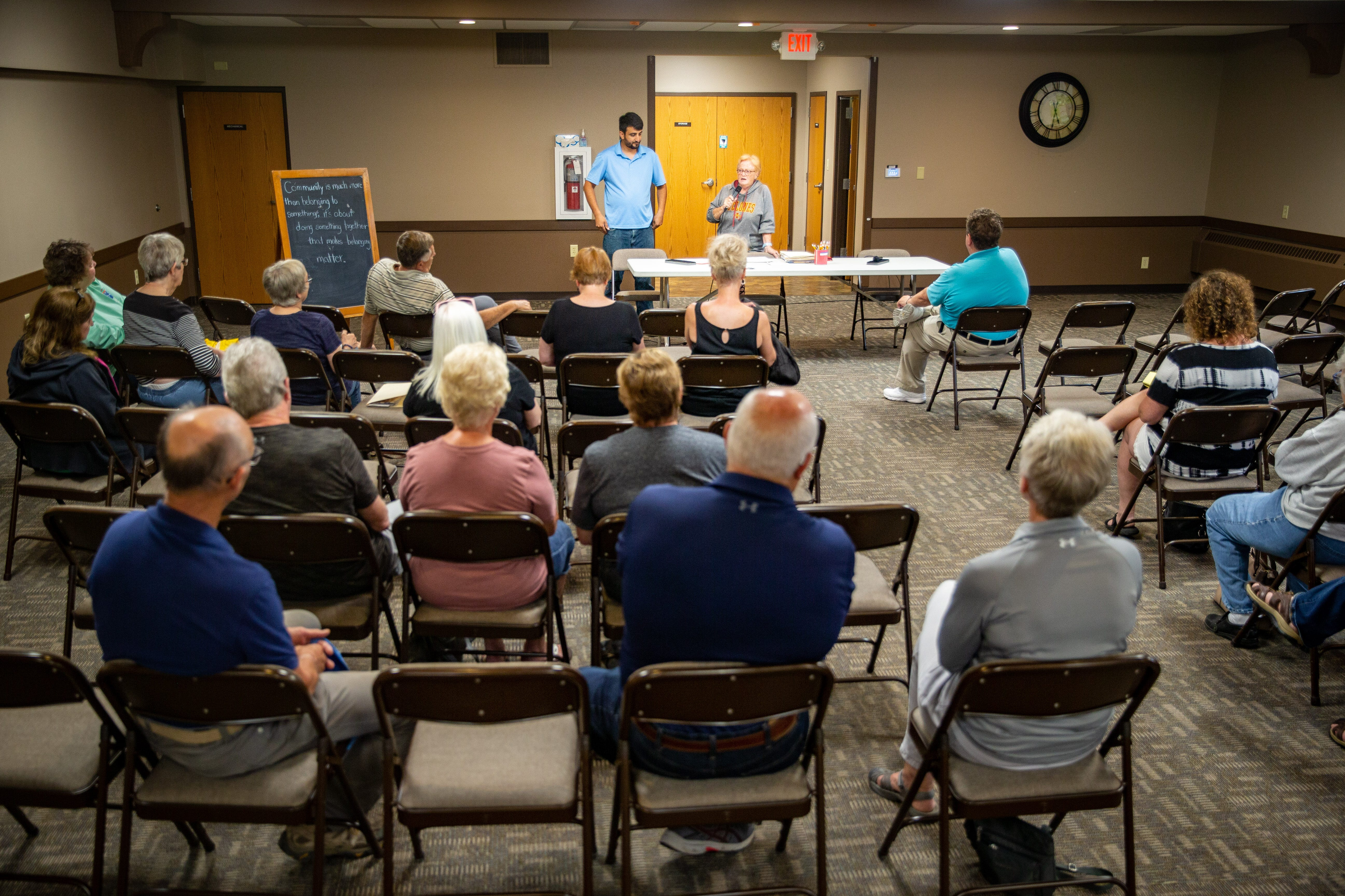 Community members gather at the First United Methodist Church in Iowa Falls to discuss ways to help Zalmay Niazy stay in the United States Tuesday, June 22, 2021. Born and raised in Afghanistan, Niazy worked as a translator for U.S. armed forces before moving to Iowa Falls.
