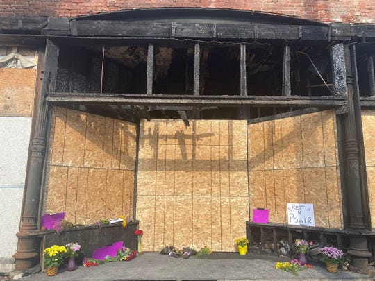 An early morning fire on June 23, 2021 damaged the historic former North Des Moines City Hall building and destroyed the Black children's memorial created by the Des Moines Black Liberation Movement.