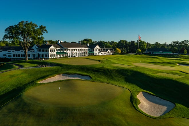 The 18th green of Oakland Hills Country Club's South Course in Bloomfield Township, Michigan.