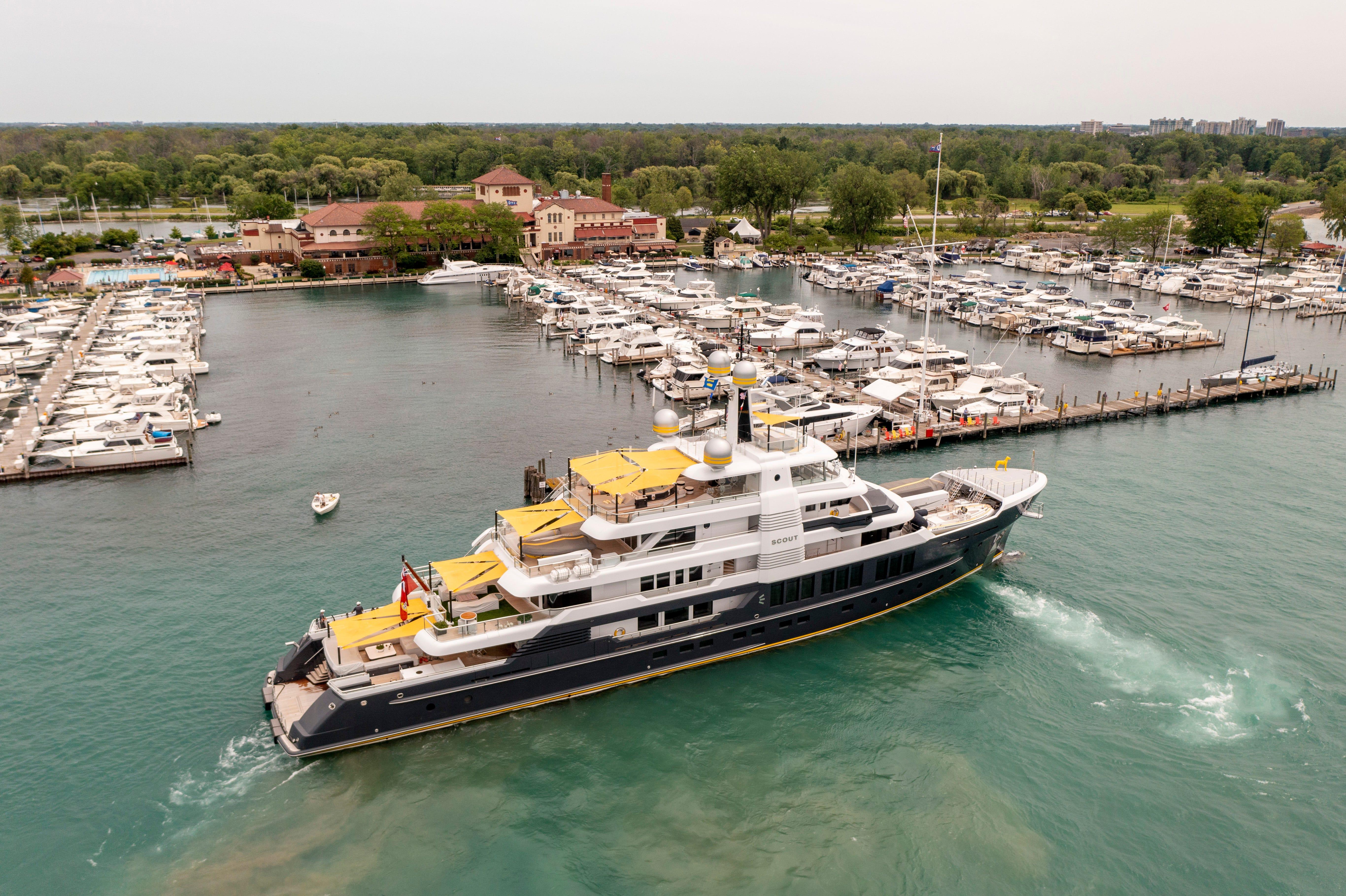 Mega yacht spotted sailing Detroit River