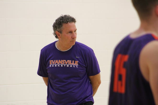 Todd Lickliter looks on during the Aces' workout on Thursday morning.