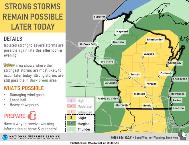 The area under a slight risk for severe thunderstorms on Thursday has been expanded to include a large portion of Wisconsin.