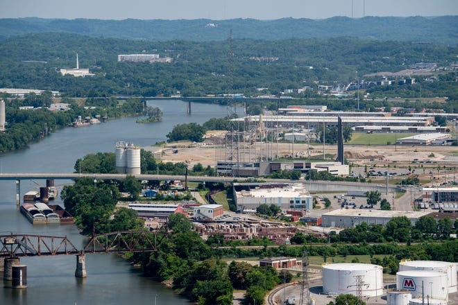 A view of the East Bank of the Cumberland River, where the future site of a new hub of Oracle is set to be, as seen on Thursday, June 24, 2021, in Nashville, Tenn.