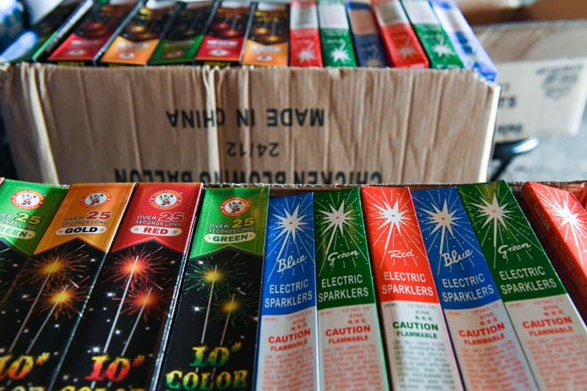 Sparkler packages sit in boxes ahead of the Fourth of July on Thursday, June 24, 2021, at Fire Bros. Fireworks in Sioux Falls.