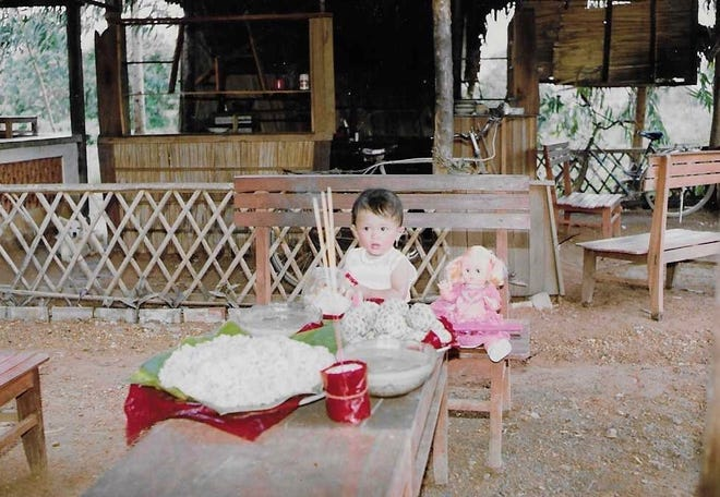 Ngoc Thach on her first birthday in her birthplace of Dong Nai, Vietnam.