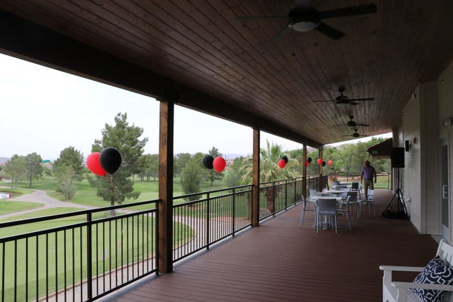 View of the Southgate golf course from the clubhouse's new wrap-around deck that was added in the renovation for the clubhouse, June 17, 2021.