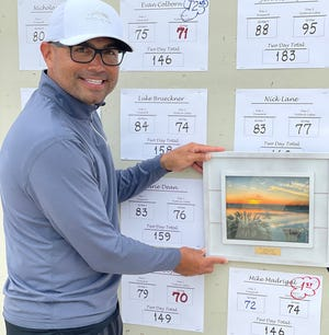 Mike Madrigal poses with the award above his final score after winning the Championship Flight of the Oxnard City Championships at River Ridge on June 20.