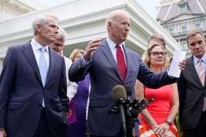 The White House said Sen. Joe Biden thanked Sen. Kyrsten Sinema, D-Ariz., for her work in bringing together 11 Senate Republicans and 10 Senate Democrats on a deal that would authorize sweeping changes to the nation's roads, airports, water systems, broadband connectivity, and other infrastructure.