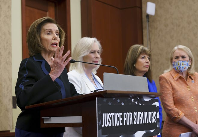 Speaker of the House Nancy Pelosi, D-Calif. (from left), Sen. Kirsten Gillibrand, D-N.Y., Rep. Jackie Speier, D-Calif., and Rep. Sylvia Garcia, D-Texas, held a news conference June 23 at the Capitol in Washington to introduce the Vanessa Guillen Military Justice Improvement and Increasing Prevention Act, named for a soldier who was murdered in 2020 by another enlisted soldier inside a Fort Hood, Texas, armory.