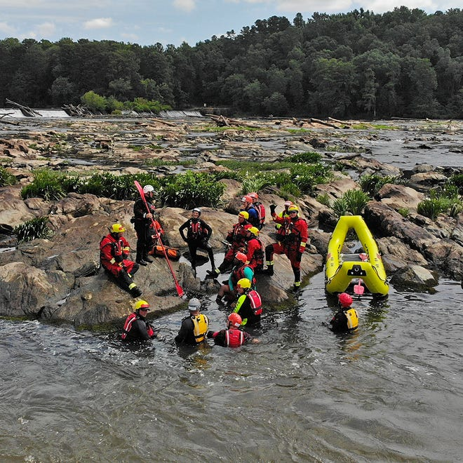 Augusta Fire Department and Columbia County Fire-Rescue crews train out on the Savannah River during a past joint water rescue training exercise.