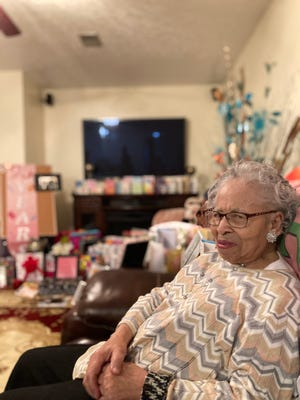 Catherine Sullivan, who turns 93 on Monday, sits in her daughter's home in rural South Carolina near Aiken. Her large extended family has been showering her with daily gifts for nearly three months leading up to her birthday.