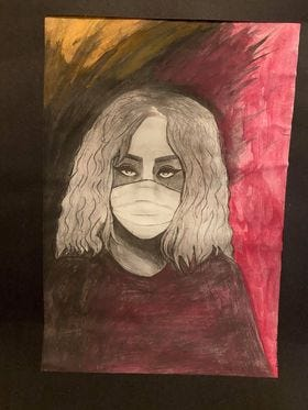 Self Portrait in the Age of COVID, original artwork by Rylee Thompson. Read more about the artist and her work at the bottom of this story.