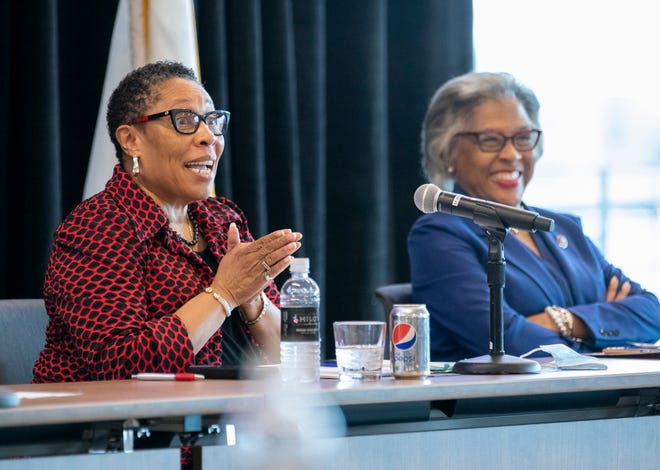 U.S. Department of Housing and Urban Development Secretary Marcia Fudge and Rep. Joyce Beatty talk during a round table discussion on housing, jobs and infrastructure with community leaders at Columbus State Community College on Friday, June 25, 2021.