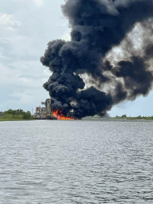 Reported tank battery explosion off of Catfish Lake.