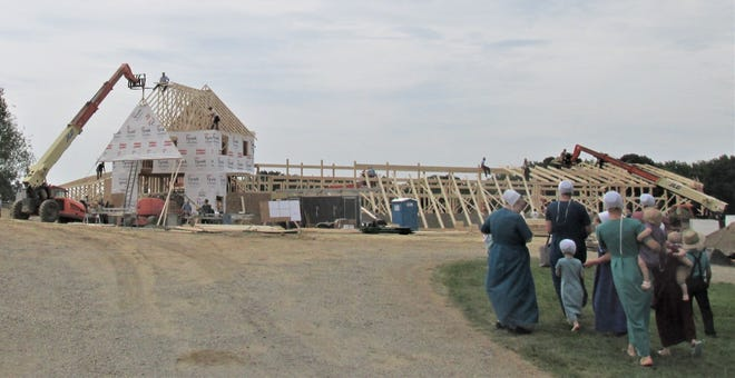 Wives and children of the many men working on the Beachy barn look on during the barn-raising Friday on the Beachy family farm near Berlin.