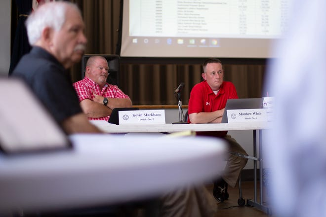 Maury County commissioners and budget committee members Kevin Markham, left, and Matthew White, right, attend a fiscal planning meeting at the Memorial Building in Columbia on Monday, May 12, 2019. (Staff photo by Mike Christen)