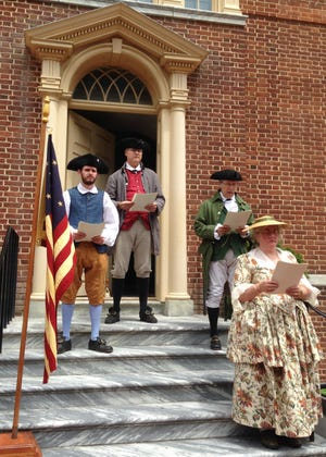 Historical interpreters will read the Declaration of Independence from the steps of The Old State House on July 3 and 4, 2021.