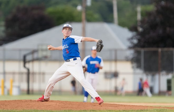 Hornell Dodgers relief pitcher Collin Burdett delivers a pitch to the plate Thursday evening as the Dodgers played host to the Rochester Ridgeman at Maple City Park.