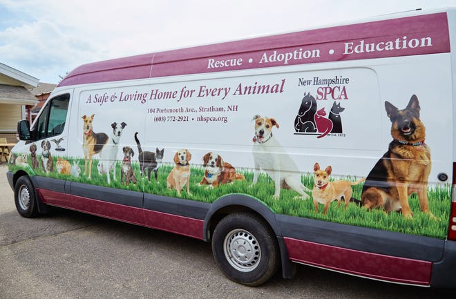 """Sit.Stay.Smile. Pet Photography recently photographed New Hampshire SPCA (NHSPCA) alumni and adoptable animals for use on the NHSPCA van """"wrap."""""""