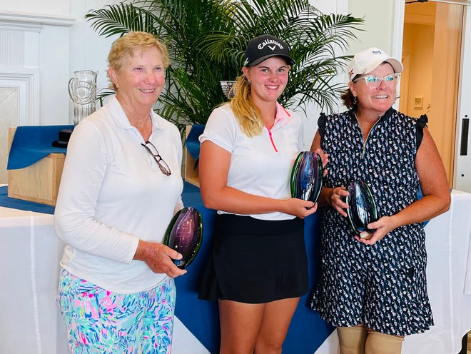 The winners of the First Coast Women's Amateur, at the Sawgrass Country Club, are (from the left), Nancy Smith in the super-senior division, Kaitlyn Schroeder in the amateur division and Kim Keyer-Scott in the senior division.