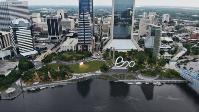 A rendering shows an aerial view of the Perkins & Will design for Riverfront Plaza with the large piece of public art.