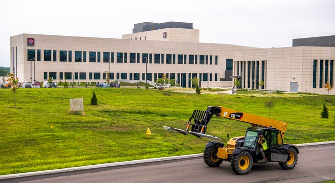 Construction crews continue work  June 25 at the  Indiana University Regional Academic Health Center campus in Bloomington.