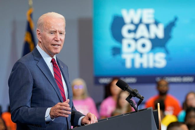 President Joe Biden speaks at the Green Road Community Center in Raleigh Thursday, June 24, 2021. Biden was in North Carolina to meet with frontline workers and volunteers and speak about the importance of getting vaccinated. (AP Photo/Susan Walsh)