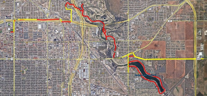 The city of Lubbock released a map showing road closures in red, and roads that will be shared with bicycles and cars, with lane closures, in yellow.