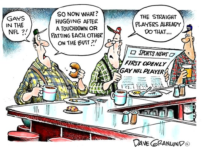 Dave Granlund cartoon: Openly gay NFL player