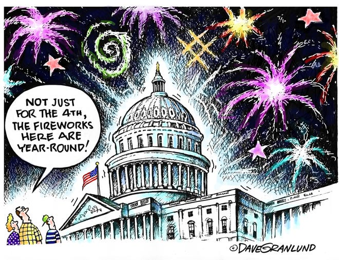 Granlund cartoon: Fireworks and Congress