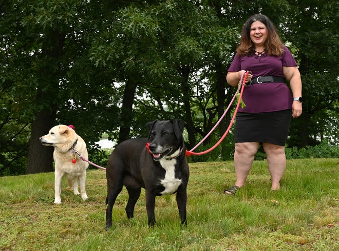 Shannon Stevens with her dogs, Sadie and Maddie, at the site of a planned dog park at Farm Pond Park in Framingham, June 25, 2021.