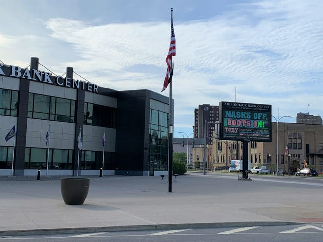 A Toby Keith concert is advertised at the Adirondack Bank Center at the Utica Memorial Auditorium on June 25, 2021.