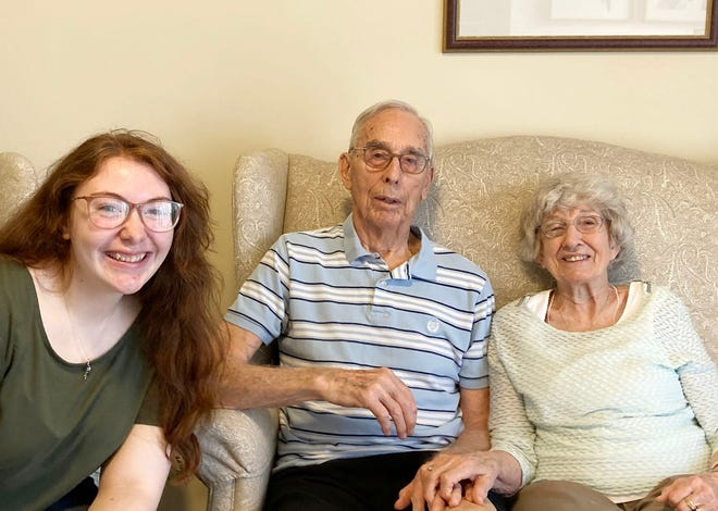 Alyssa Rodriguez, left, with Roger and Joyce Tuttle, is the recipient of the Roger and Joyce Tuttle Scholarship for 2021.