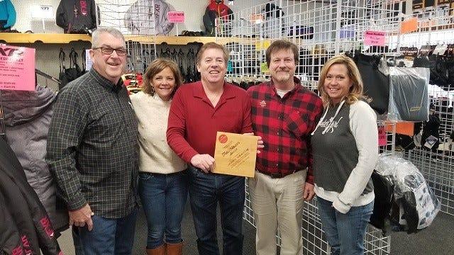 Jerry Beattie (center) is presented with a Trailblazer Award for 2019 by (from left) Scott Bicknell, Sandy Mattingly, Paul Beachnau and Christy Walcott.