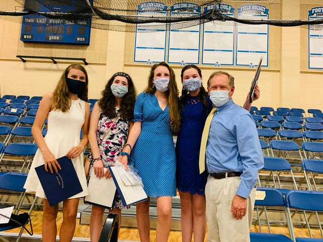 Middle School of the Kennebunks students, from left to right, Kathryn Manning, Emilia Ilyas, Annabelle Wainman and Olivia Therrien were recognized at the 8th Grade Celebration on June 14. They are pictured with, at far right, MSK 8th grade history teacher and Baxter Team Leader Paul Bibeau.
