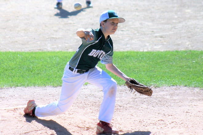 Dover's Declan Fitzgerald allowed just one hit over four innings in the opening game Thursday of the East Area 12U Cal Ripken 70-foot basepaths tournament at Beckwith Park in Dover.