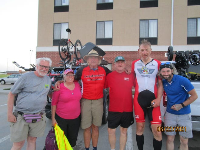Denmark native Martin Landsmann's five-person support crew for the 2021 RAAM event came from across the U.S. and included, from left, John Henry Maurice, Keizer, Oregon; Heidi Walker, Amarillo, Texas; Kenny Beal, Crew Chief, Ventura, California;Dave Bowlin, Surprise Arizona; Martin Landsmann, Denmark (and Massachusetts); and Charles Ollinger, Carrboro, North Carolina.