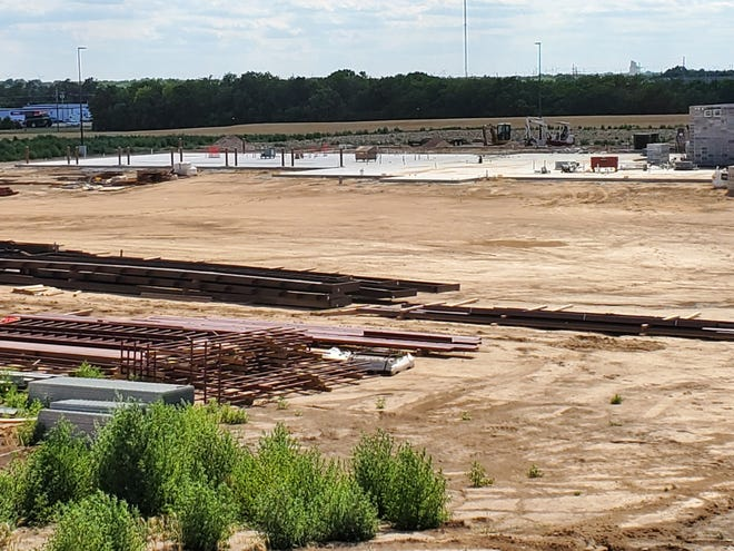 The concrete base for the Pratt County Public Safety Building is now visible as construction continues just east of Pratt along U.S. Highway 54/400.