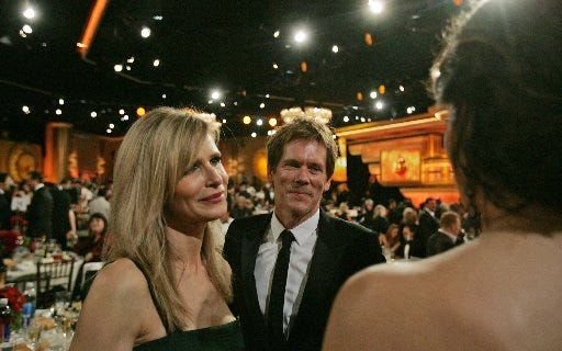 """Kyra Sedgwick, shown with husband Kevin Bacon at the 67th Annual Golden Globe Awards show in 2010, says Rhode Island has """"magical"""" locations for filming the movie she's directing here, """"Space Oddity."""""""