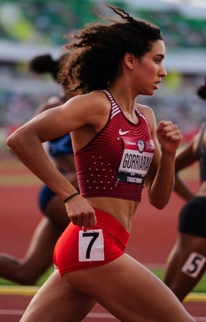 Providence's Sophia Gorrairan, a sophomore at Moses Brown, competes in the U.S. Olympic Trials in Eugene, Ore., on Thursday.