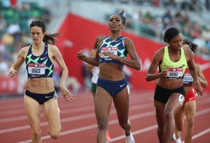 Raevyn Rogers, center, wins her heat of the 800-meter preliminaries Thursday at the U.S. Olympic Track & Field Trials at Hayward Field.