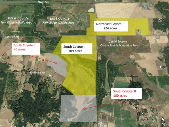 A layout of where the new South Coyote II and III properties are located.