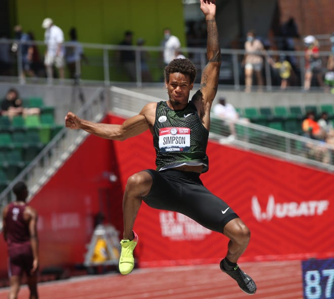 Former Oregon standout Damarcus Simpson competes in the long jump preliminaries at the U.S. Olympic Track & Field Trials at Hayward Field on Friday.
