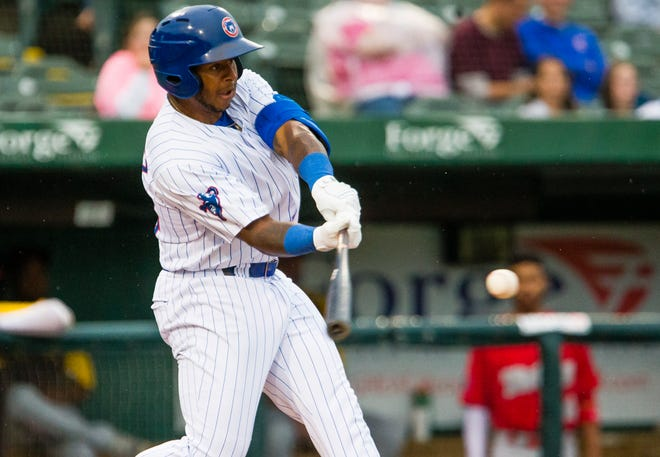 South Bend's Nelson Velazquez, shown here on June 25, had three hits Wednesday, July 7 to help lead the Cubs to an 11-7 win over Beloit in Advanced A minor League baseball action at Four Winds Field in South Bend.