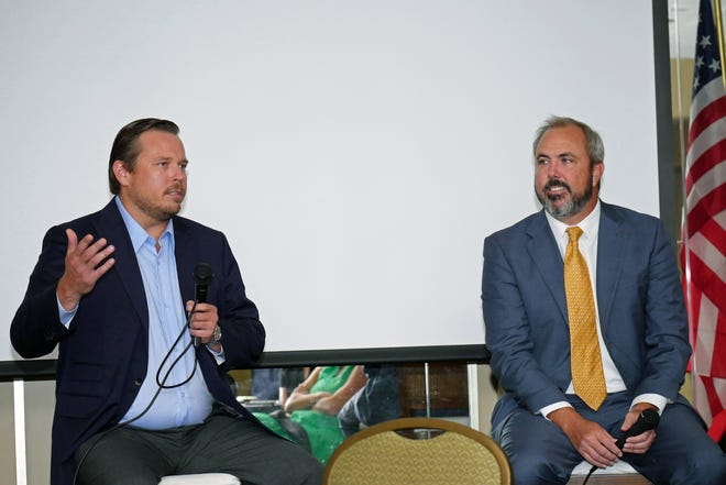 State Rep. James Buchanan, left, addressed the crowd Friday afternoon, along with State Sen. Joe Gruters, as the South County Tiger Bay Club hosted its first program since the COVID-19 pandemic.