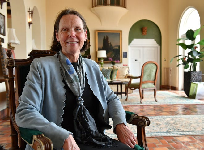 Patricia Okker, the new New College president, sits for a portrait in College Hall on the New College campus.