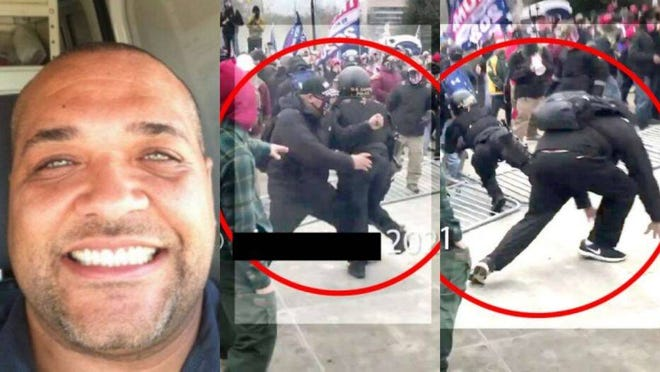 At left, Shane Jason Woods of Auburn from his Facebook account. In screen shots from a YouTube video, Woods is allegedly seen tripping a U.S. Capitol police officer on Jan. 6.