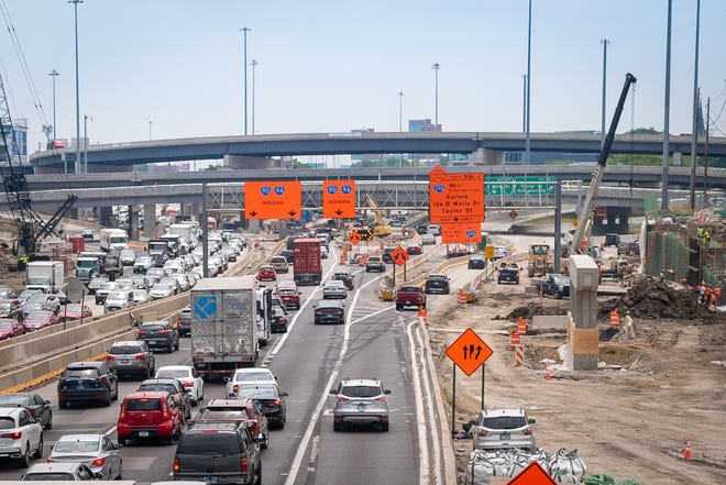 Construction work continues for the Jane Byrne Interchange, a project that has been ongoing since 2013. President Joe Biden's proposed infrastructure plan runs counter to decades of transportation officials' car-centric thinking.