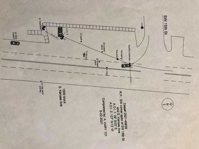 This diagram was part of a Topeka police accident report for a fatal crash that occurred June 18 in the 1500 block of S. Kansas Avenue.