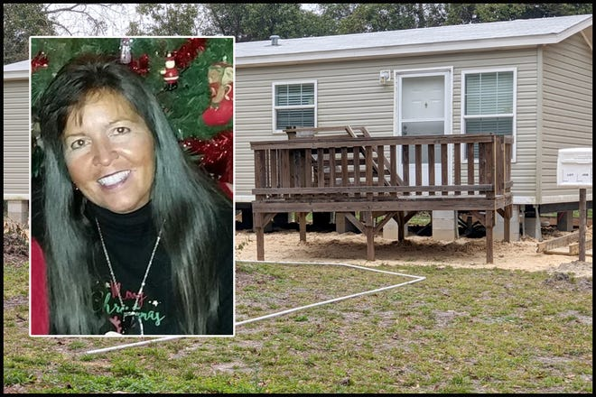 In this compilation image are Laurie Costello, the woman who filed an ethics complaint over the construction of this mobile home in question.